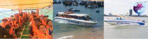 Khách lên tàu bắt đầu chặn hành trình Tour Cù Lao Xanh