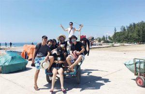 Đi xe ba gác ở Cù Lao Xanh