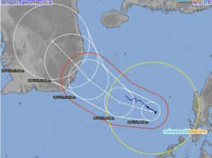 Dự báo hướng đi của bão số 6 (Nguồn: Cơ quan khí tượng Nhật Bản)