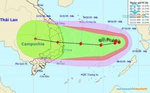 Vị trí của bão số 6 vào lúc 5h sáng ngày 8/11