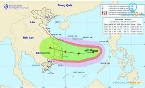 Tâm và hướng đi của bão số 6 (Bản tin 17h ngày 7/11)