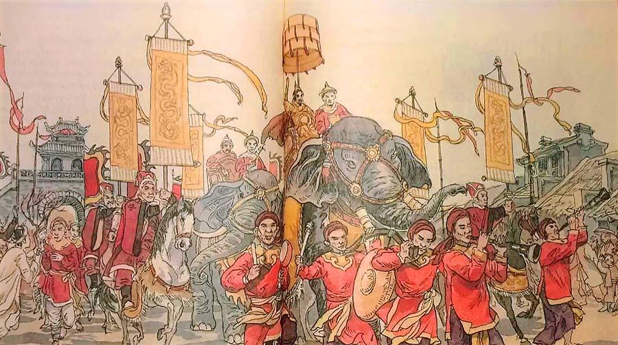 Hình tượng Quang Trung – Nguyễn Huệ ngồi trên voi chiến tổng chỉ huy nghĩa quân Tây Sơn (Ảnh ST)
