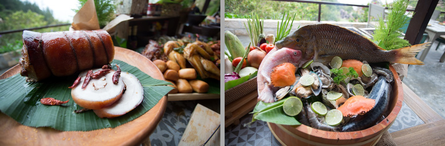 """Thịt nướng heo rừng bản địa đại diện cho món ngon từ thần núi """"Sơn Tinh"""" hay hải sản tươi sống, cống phẩm từ """"Thủy Tinh"""" - Ảnh Kênh 14"""