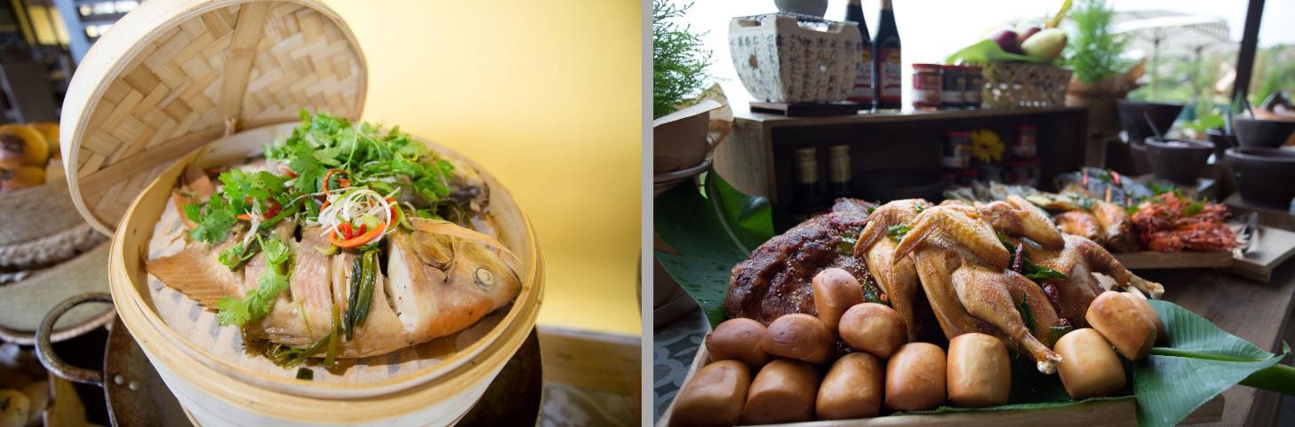 Cá điêu hồng hấp lừng danh thuần Việt chấm nước mắm Quy Nhơn pha chanh ớt chua ngọt cực cay, siêu ngon và món nướng từ các siêu đầu bếp Âu thơm nức mũi cho đại tiệc đứng linh đình - Ảnh Kênh 14
