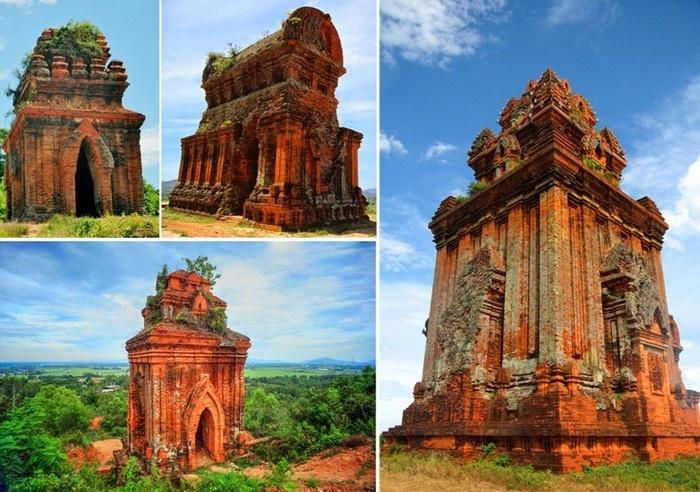 Tổng thể bốn tòa tháp của cụm tháp Bánh Ít - Ảnh: Lan Nguyen