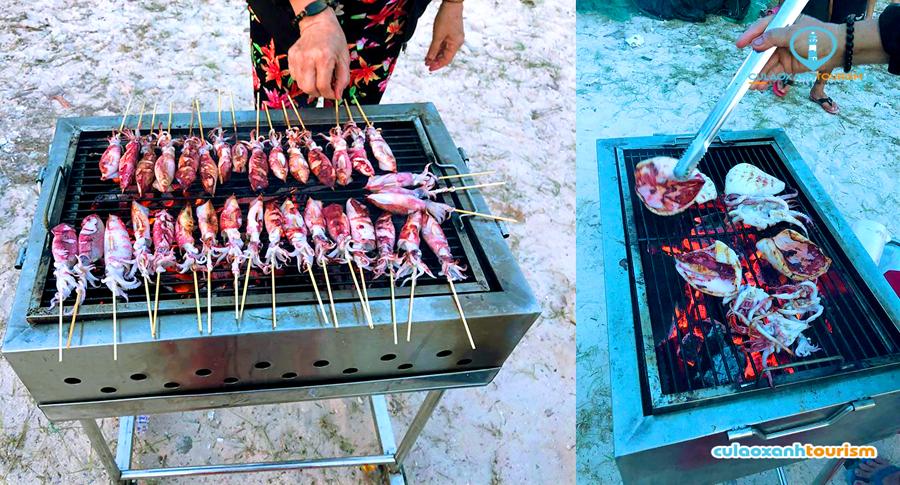 Các món hải sản nướng hấp dẫn cho du khách tham quan