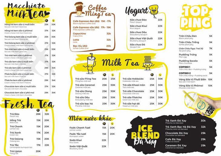 Menu Ming Tea Quy Nhơn, đa dạng và hấp dẫn